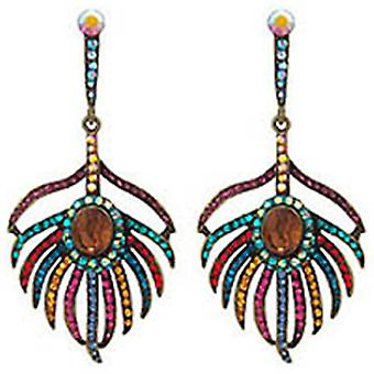 Butler and Wilson Multi Topaz Peacock Feather Earrings
