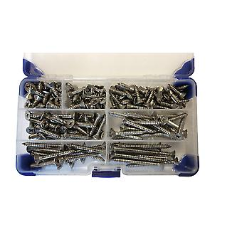 750 Piece No 4 (2.9mm) Stainless Steel Pozi Countersunk Head Self Tapping Screws Assorted Lengths
