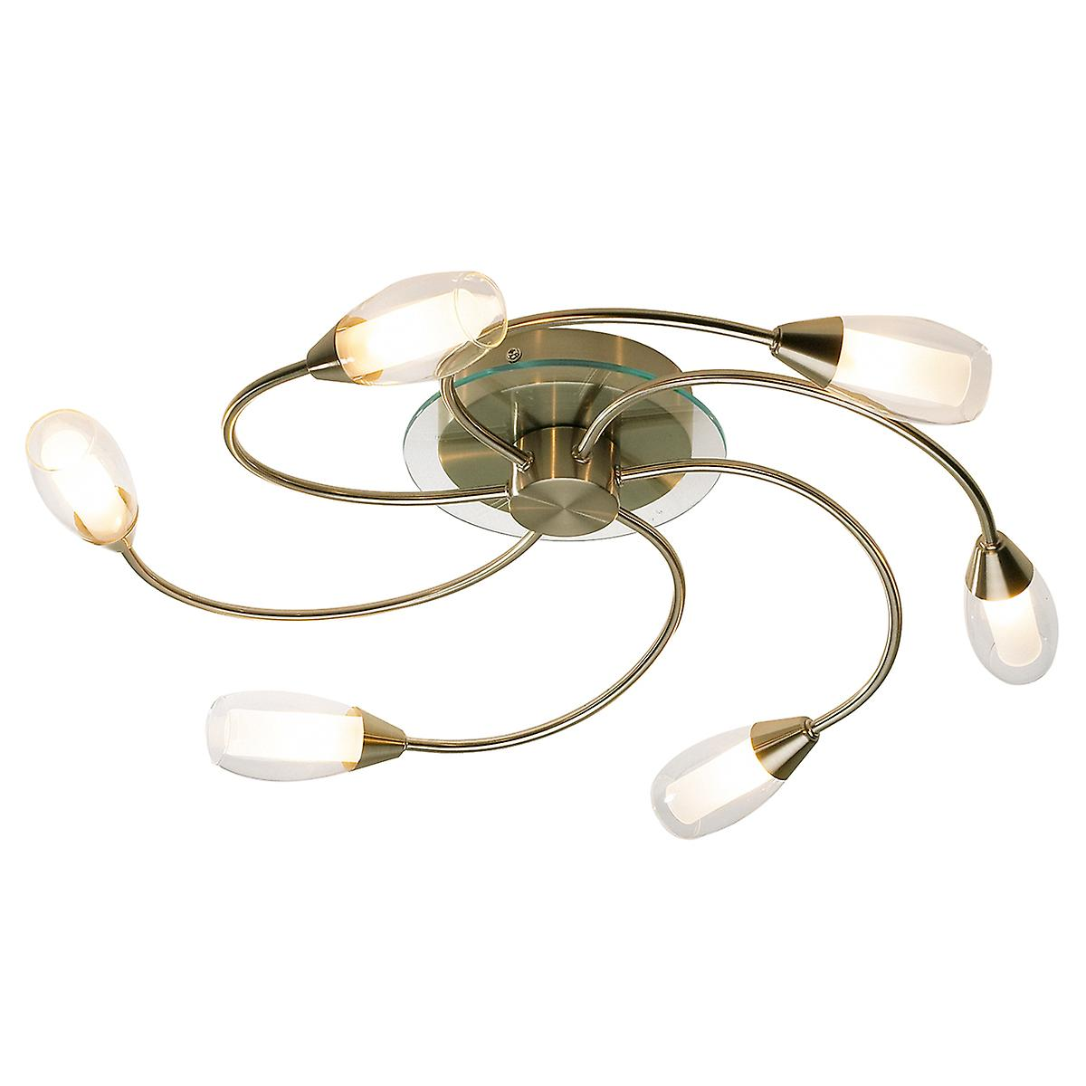 Dar TUG0675 Tugel Traditional 6 Light Ceiling Fitting In Antique Brass