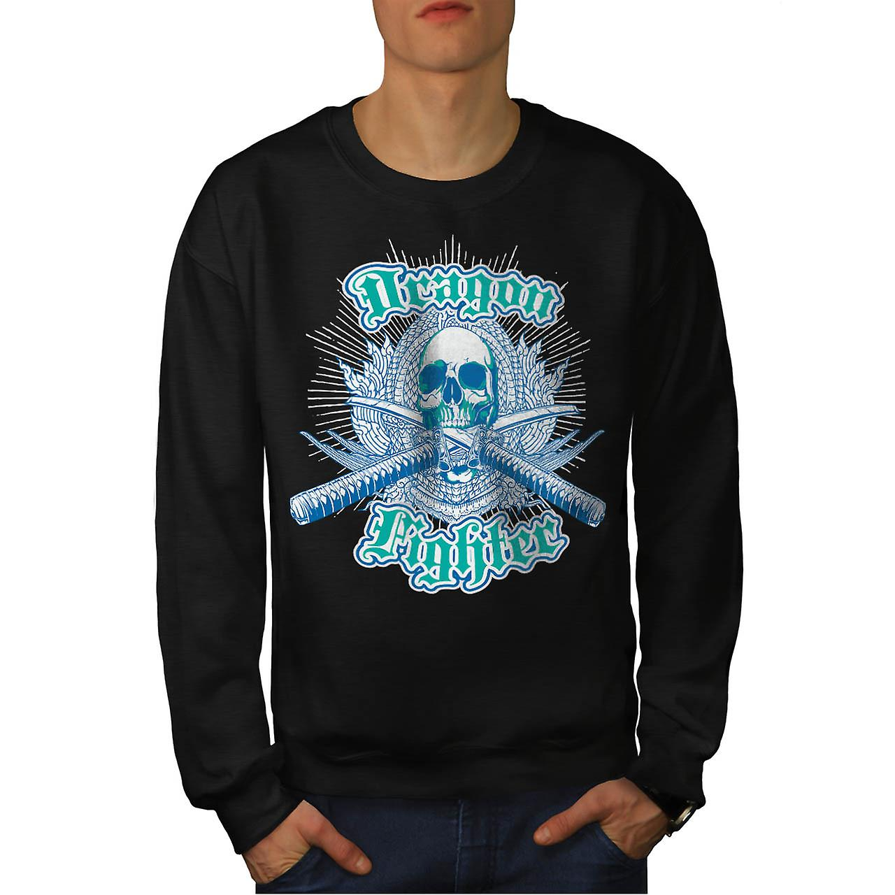 Dragon Fighter Skull Samurai Mob Men Black Sweatshirt | Wellcoda
