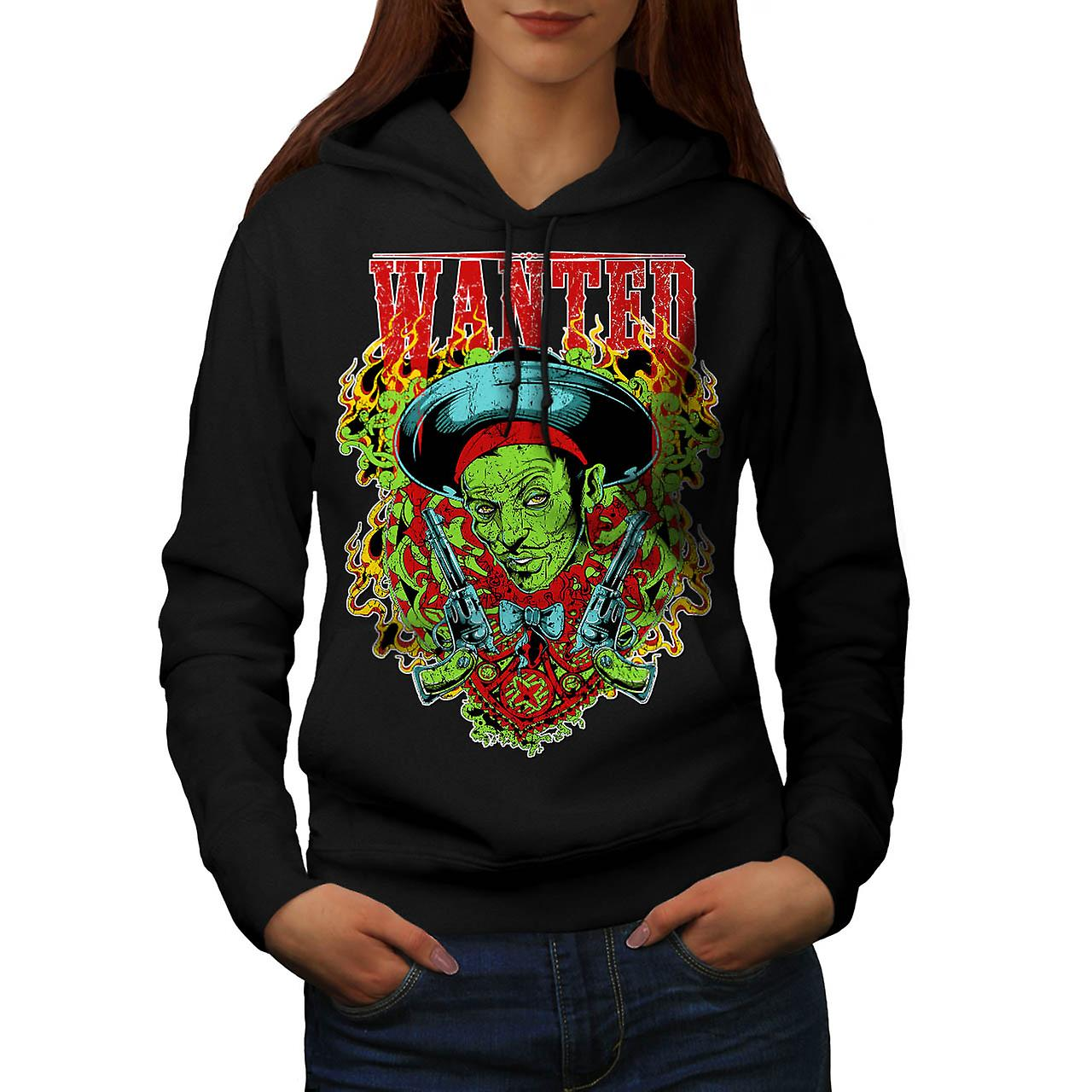 Wanted Dead Or Alive Crime Gun Women Black Hoodie | Wellcoda