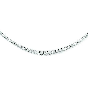 Sterling Silver Polished Prong set Box Closure Rhodium-plated Rhodium Plated With Cubic Zirconia Necklace - 17 Inch
