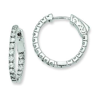 Sterling zilveren Rhodium Plated met Cubic Zirconia scharnierend Hoop Earrings Hoop Earrings