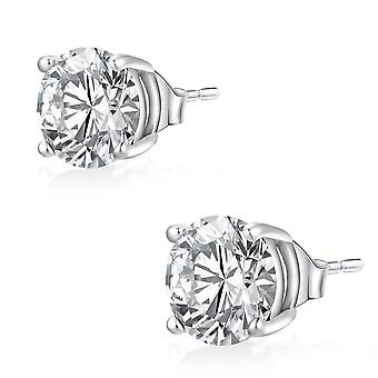 Ear Studs Earrings 925 Sterling Silver Jewellery, Stones White | 3 - 8 mm