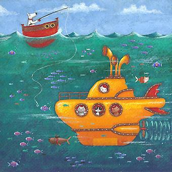 Yellow Submarine Poster Print by Peter Adderley
