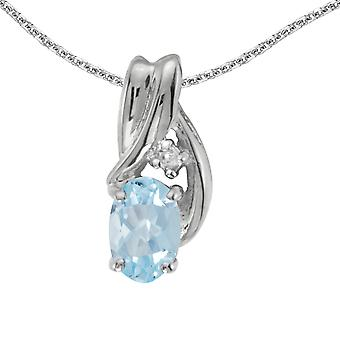 14k White Gold Oval Aquamarine And Diamond Pendant with 18