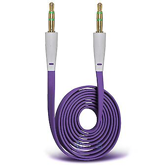 ONX3 (Purple) Samsung Galaxy On7 Pro (2017) Gold Plated 3.5mm Jack To Jack Connection Aux Auxiliary Audio Flat Cable