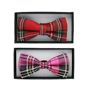 Unisex Checkered Tartan Pre-Tied Dickie Bow Tie Fancy Dress Accessory