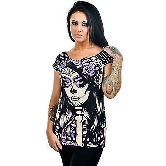 Too Fast Womens Bolivar Tshirt Coffin Mirror Sugar Skull Day Of The Dead