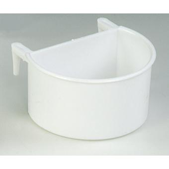 Quiko White Plastic Hook-on D Cup Feeding Trough (Pack of 12)