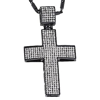 Iced out bling BLACK EDITION cross - CLEAR