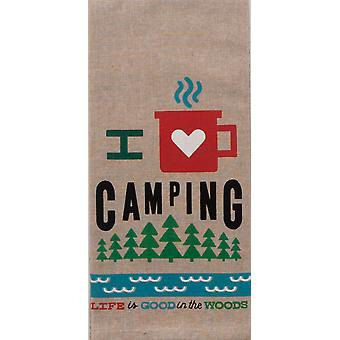 I Heart Camping Life is Good Chambray 28 Inch Kitchen Dish Tea Towel