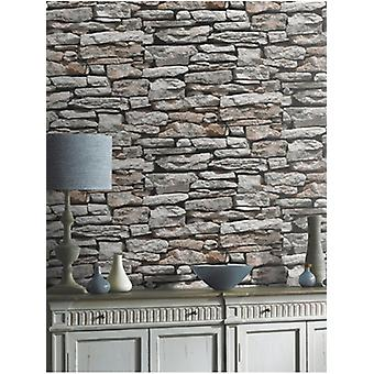 Arthouse Natural Wall Rustic Grey bronze Slate Stone Brick Feature Wallpaper