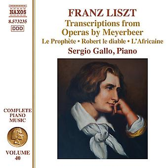 Liszt / Gallo, Sergio - Transcriptions From Operas by Meyerbeer [CD] USA import