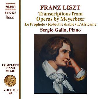 Liszt / Gallo, Sergio - transskriptioner fra operaer af Meyerbeer [CD] USA import