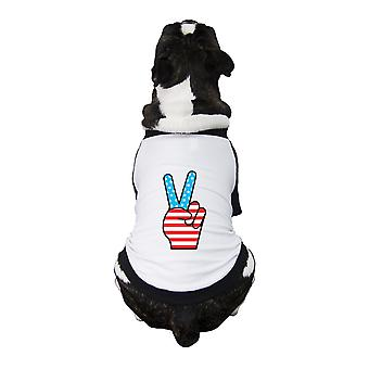 American Flag Peace Sign Independence Day Small Pets Baseball Tee