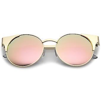 Premium metall Cat Eye solglasögon med runda färgade spegel platt lins 51mm