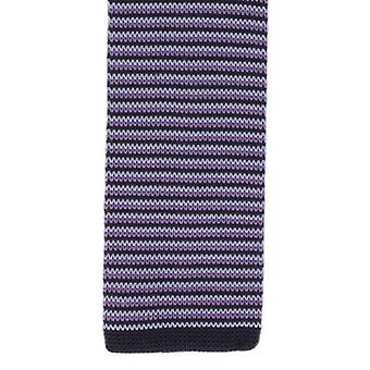 Michelsons of London Silk Knitted Thin Stripe Skinny Tie - Purple