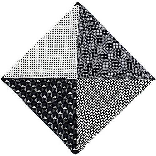 Michelsons of London 4 Way Patterned Silk Handkerchief - Black