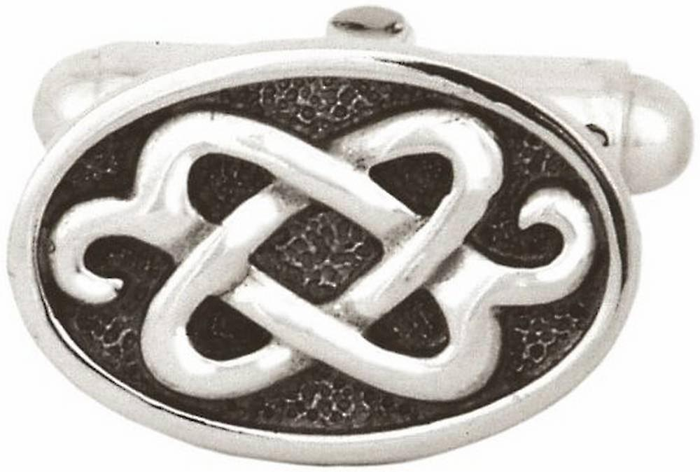 David Van Hagen Sterling Silver Celtic Oval Cufflinks - Silver/Black