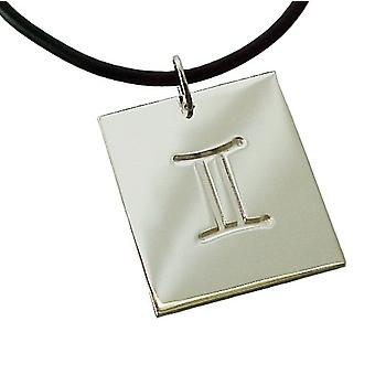 Necklace pendant Zodiac twin 925 sterling silver with natural rubber necklace