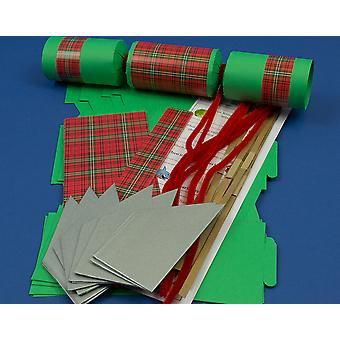 8 Green Christmas Tartan Make & Fill Your Own Cracker Craft Kit