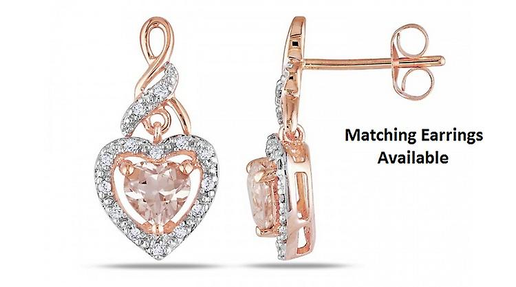 Affici Sterling Silver Pendant with Chain 18ct Rose Gold Plated ~ Heart Cut Morganite CZ Gem