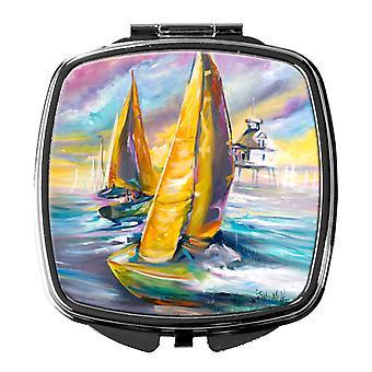 Carolines Treasures  JMK1234SCM Middle Bay Lighthouse Sailboats Compact Mirror