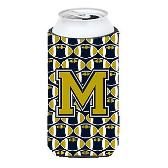 Letter M Football Blue and Gold Tall Boy Beverage Insulator Hugger