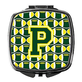 Letter P Football Green and Yellow Compact Mirror