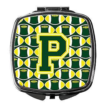 Bogstavet P fodbold grøn og gul kompakt spejl