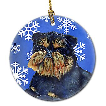 Brüssel Griffon Winter Snowflake Holiday keramischen Ornament LH9298