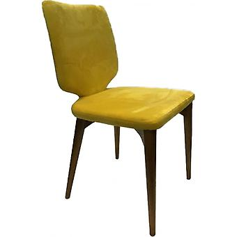 Classic Roll Top Pu Dining Chair - Mustard