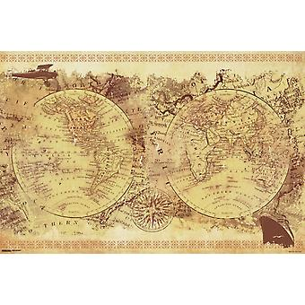 World Map - Vintage Collage Poster Poster Print
