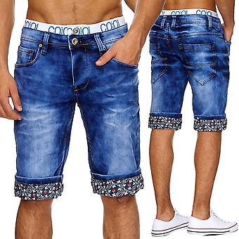 Men's Jeans Shorts Pants Stonewashed stretchbund Capri shorts denim summer