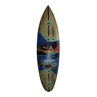 Tropical Air Brushed Mini Wooden Surfboard Wall Hanging 20 Inch