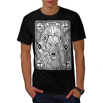 Angry Lion Face Men BlackT-shirt | Wellcoda