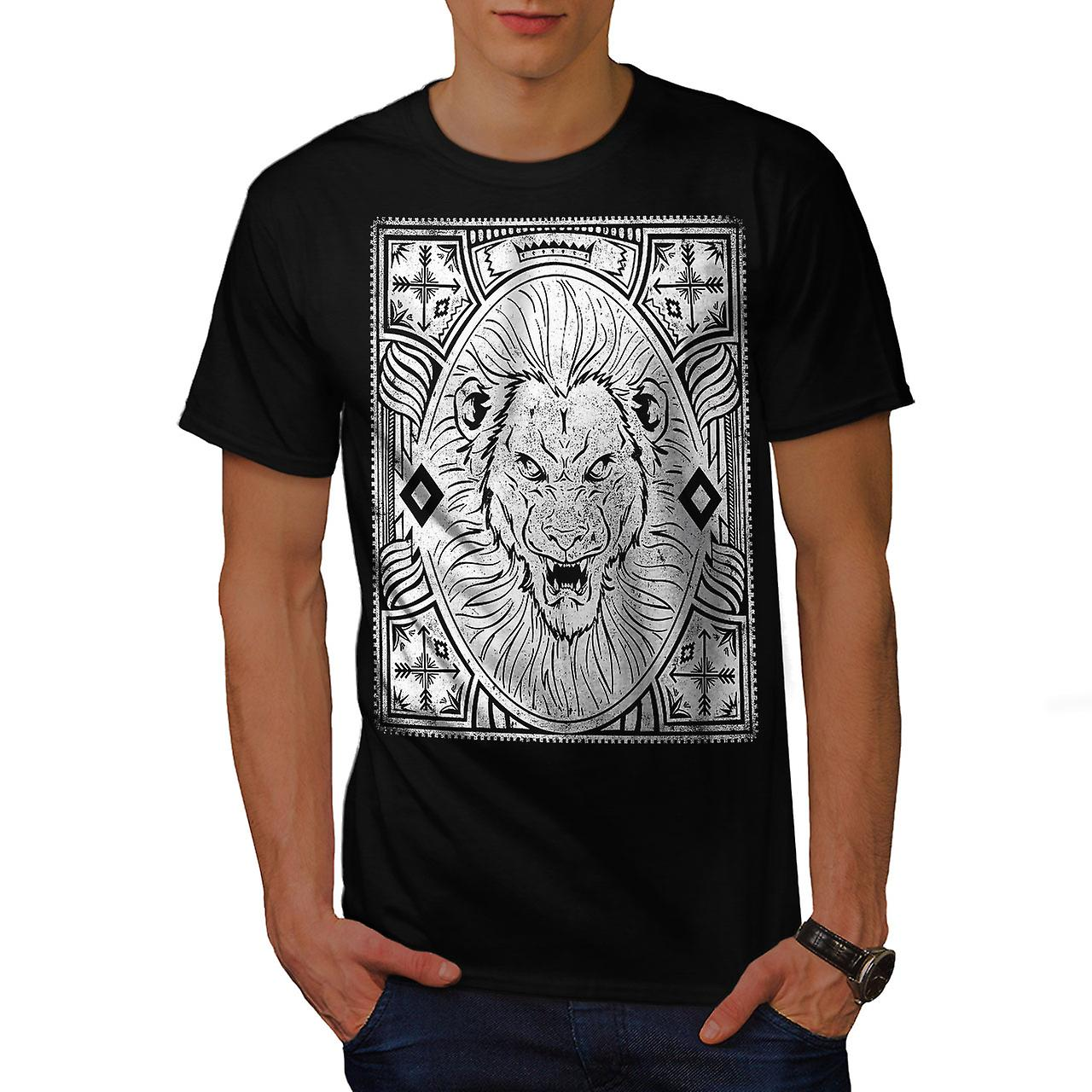 Angry Lion Face Vintage Men Black T-shirt | Wellcoda