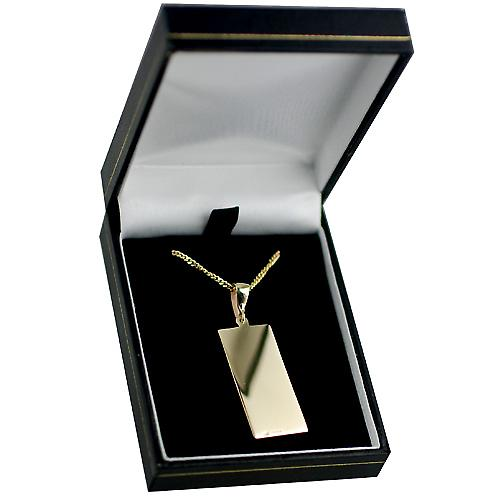 9ct Gold 35x15mm rectangular St Christopher Pendant on a bail with a curb Chain 16 inches Only Suitable for Children