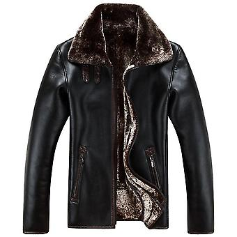Mens Sheep Fur Lined Leather Coat (reversible)