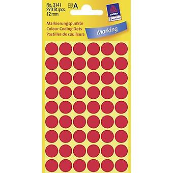 Avery-Zweckform 3141 Labels (hand writable) Ø 12 mm Paper Red 270 pc(s) Permanent Sticky dots