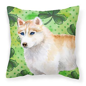 Siberian Husky St Patrick's Fabric Decorative Pillow