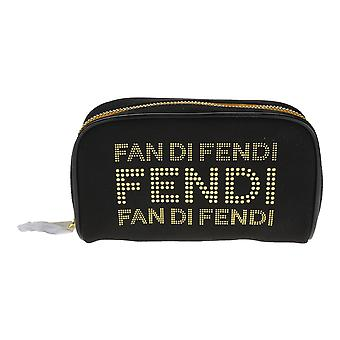 Fan Di Fendi Black And Gold Leather Trousse Pouch (6
