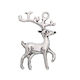 Packet 4 x Antique Silver Tibetan 36mm Deer Charm/Pendant ZX13005