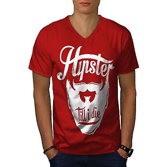 Hippie Beard Vintage Men RedV-Neck T-shirt | Wellcoda