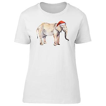 Elephant With Santa Hat Water Tee Women's -Image by Shutterstock