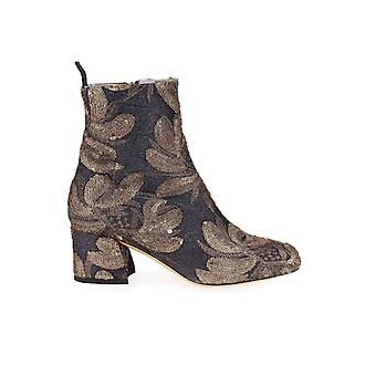 G DI G GREY GOLD EMBROIDERED HEELED BOOT