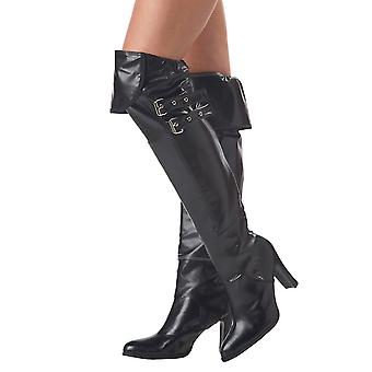Pirate Policewomen Witch Black Deluxe Costume Boot Covers