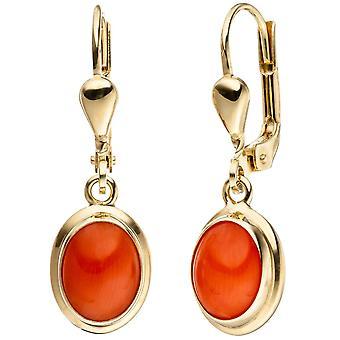 Earrings, oval 333-gold, Yellow Gold 2 coral orange earrings gold earrings