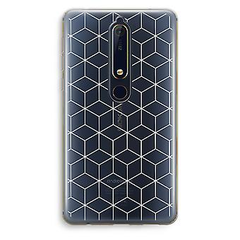 Nokia 6 (2018) Transparent Case (Soft) - Cubes black and white